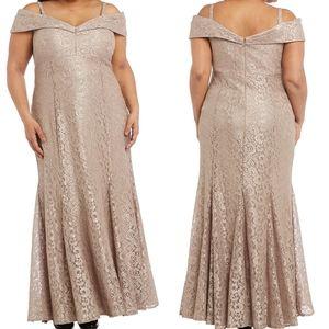 R&M Richards Lace Off the Shoulder Gown